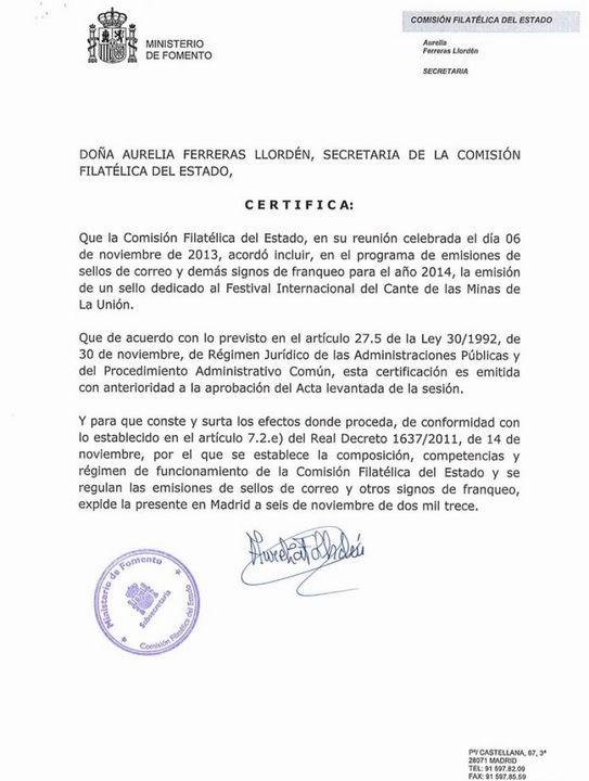 Correos emitir un sello del cante de las minas el pr ximo for Correo comunidad de madrid