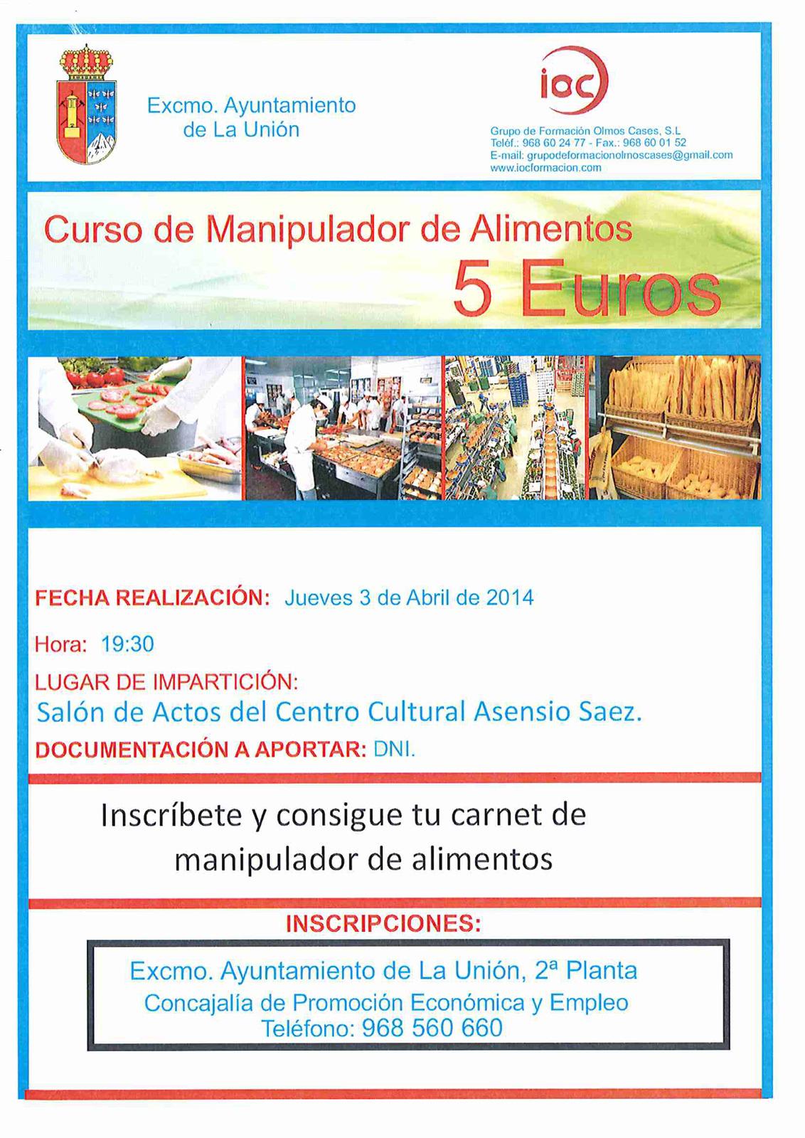 curso manipulador de alimentos. | excmo. ayuntamiento de la unión