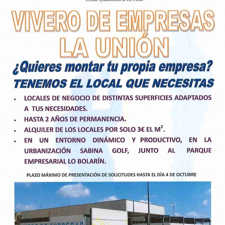 Cartel Anunciador Vivero de Empresas La Unión.
