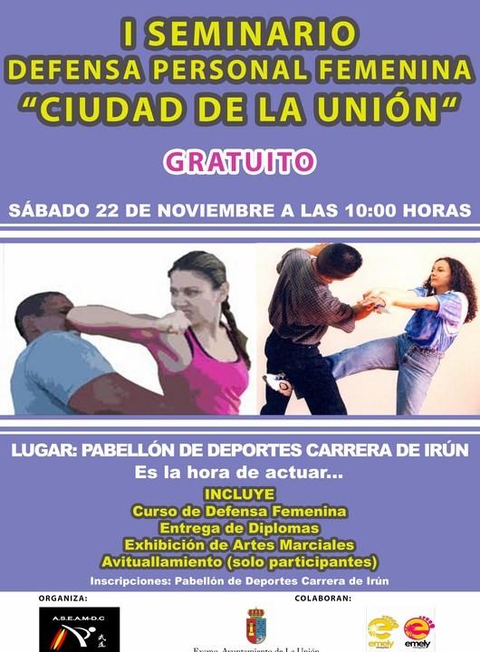 Cartel I Seminario de Defensa Personal Femenino-Ciudad de La Unión
