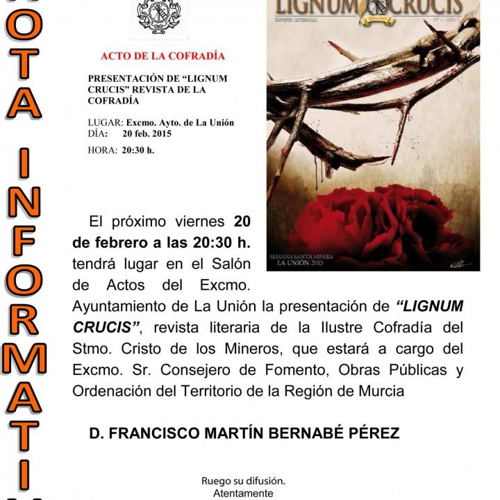 Cartel Presentación de la Revista de la Semana Santa Minera.17-02-15