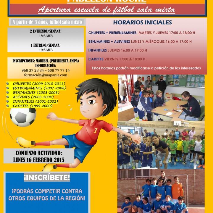 Cartel de la Escuela de Futbol Sala en Roche