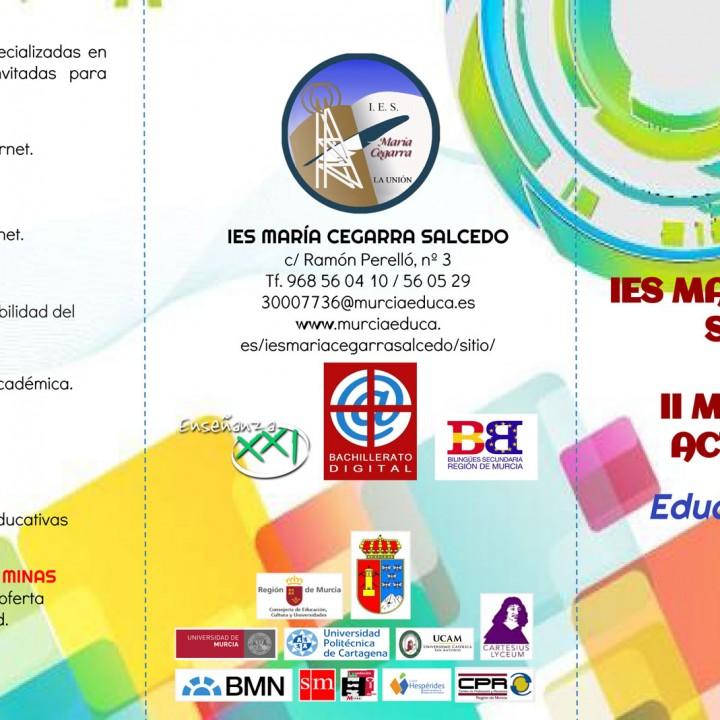 Folleto actividades II Jornadas de Puertas Abiertas IES Maria Cegarra 2015-1