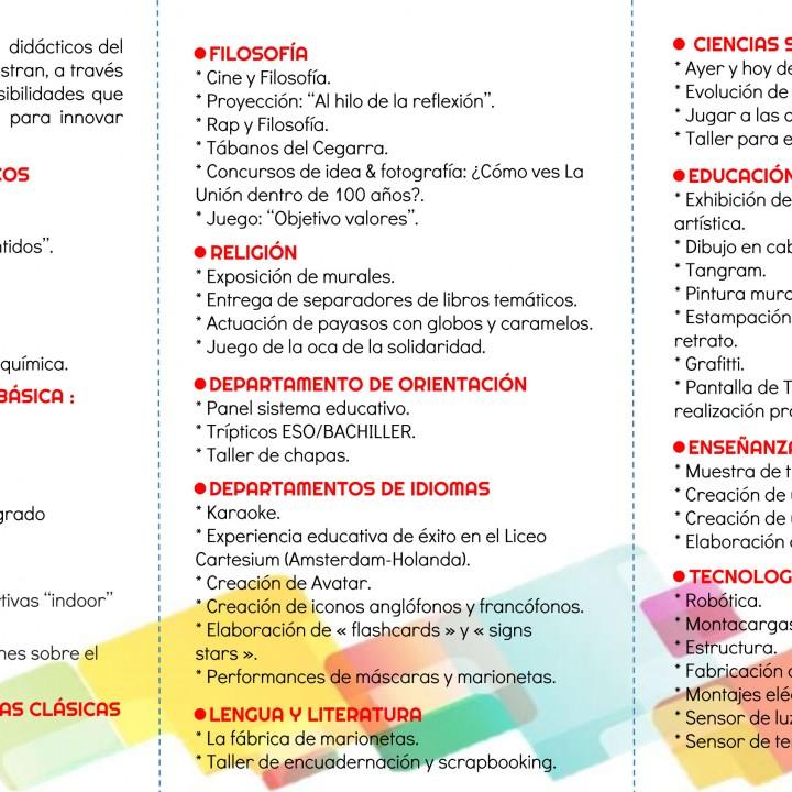 Folleto actividades II Jornadas de Puertas Abiertas IES Maria Cegarra 2015-2