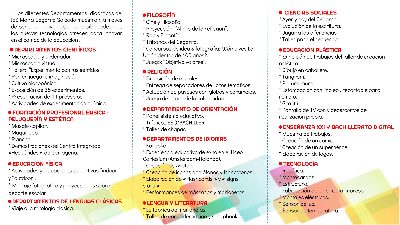 Folleto actividades II Jornadas de Puertas Abiertas IES Maria ...
