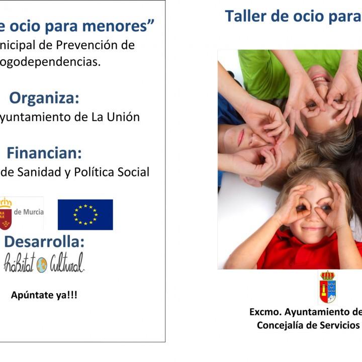 Cartel de Taller de ocio saludable para niños.2015