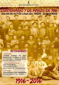 Cartel Centenario 7 de marzo de 1916. Excmo. Ayuntamiento de La Unión