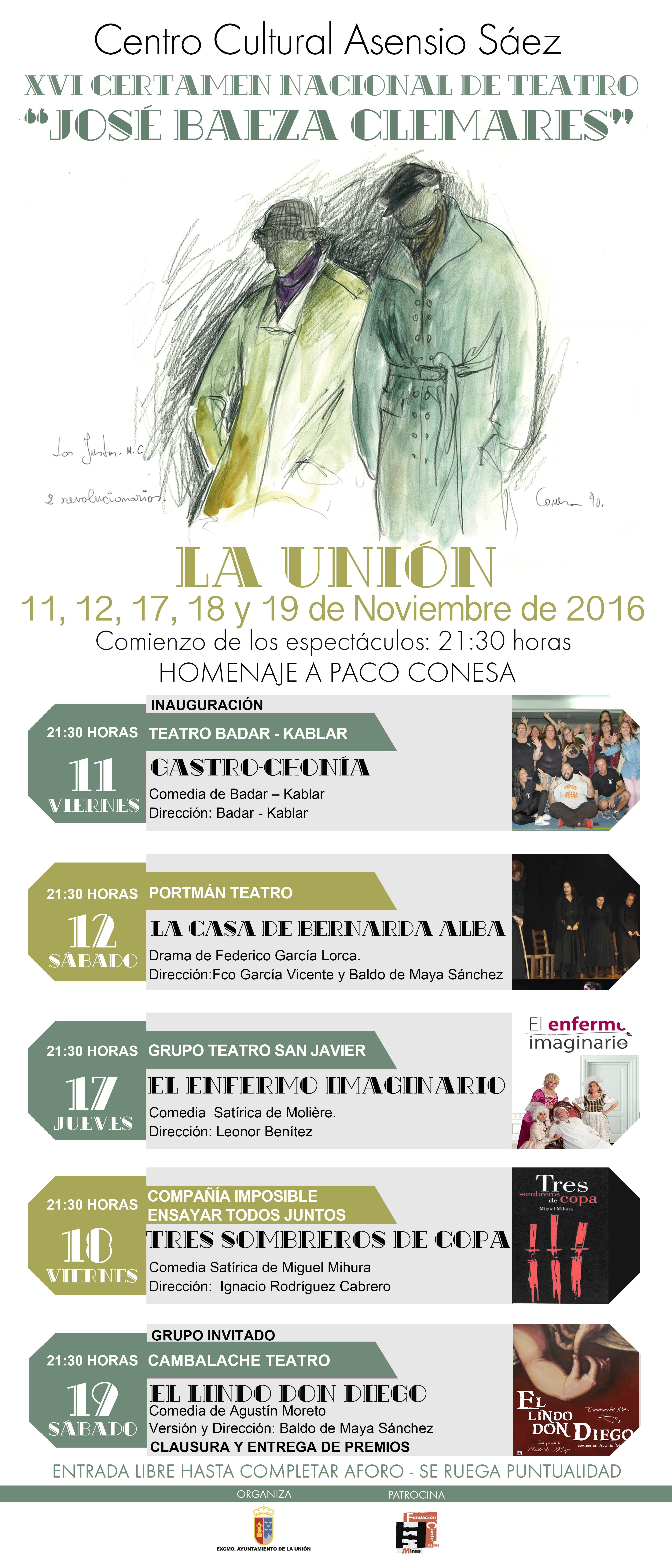 "XVI Certamen Nacional de Teatro ""José Baeza Clemares""- Homenaje a ..."